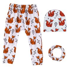 Friendly Fox Cotton Pants, Scarf and Hat(3pc-set) for Baby Boy and Boys, 35% discount @ PatPat Mom Baby Shopping App