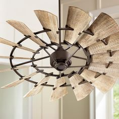 This oiled bronze ceiling fan comes with fifteen weathered oak finish manufactured wood blades. Style # at Lamps Plus. Industrial Ceiling Fan, Bronze Ceiling Fan, Unique Ceiling Fans, Outdoor Ceiling Fans, Outdoor Fans, Windmill Ceiling Fan, Ceiling Fan Makeover, Plafond Design, Asian Home Decor