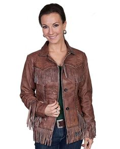 ce3200eb2 Scully Women s Brown Lambskin Western Fringe Jacket This jacket features  classic Western styling like whip-