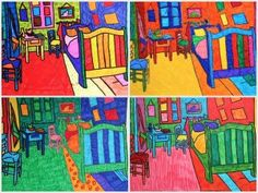 Free variations for Van Gogh and Gauguin. oil pastel over black and white photograph.