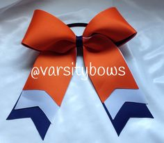 Trio Layer Orange White Navy Cheer Bow on Etsy, $8.00