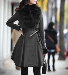 Long Sleeves Fur Plunging Neck PU Leather Stitching Waistband Beam Waist Plicated Ruffles Ladylike Women's Coat, AS THE PICTURE, M in Jackets & Coats | DressLily.com