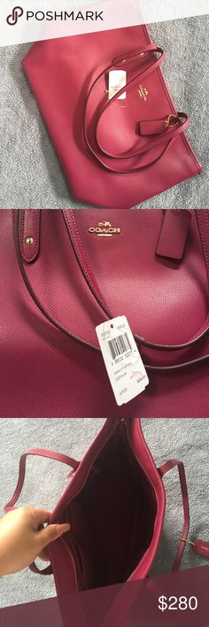 Coach Tote Bag NWT Stunning coach tote bag, brand new with tags and such a rich color. Perfect for a gift or simply to spoil yourself. Item will ship same day payment is received. Coach Bags Totes