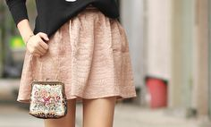 cute skirt in pale pink/blush + vintage clutch