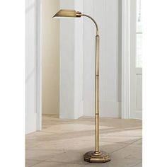 OTT-LITE Alexander Brass Energy Saving Gooseneck Floor Lamp - #97708 | Lamps Plus