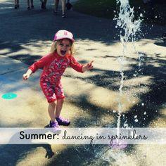 Summer: dancing in sprinklers