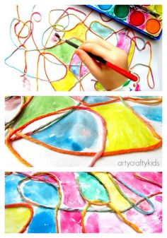 Arty Crafty Kids - Art - Art Ideas for Kids - Waterolour Yarn Kids Process Art. Elementary art lesson.