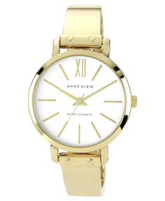 Anne Klein Watch, Women's Gold-Tone Bangle Bracelet 36mm AK-1254WTGB - Watches - Jewelry & Watches - Macy's