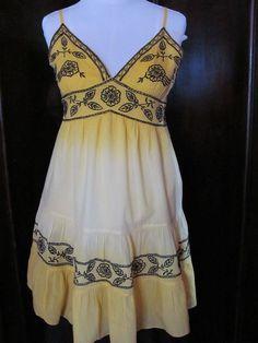 Magazine Yellow Black Floral Sun Dress Medium #Magazine #Sundress #Casual
