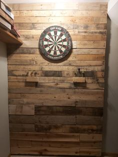 Dart Board Wall Made From Reclaimed Pallet Wood & Simple home project to protect the The post Dart Board Wall Made From Reclaimed Pallet Wood Dartboard Backing, Garage Game Rooms, Game Room Basement, Playroom, Dart Board Backboard, Dart Board Cabinet, Pallet Wood, Wood Pallets