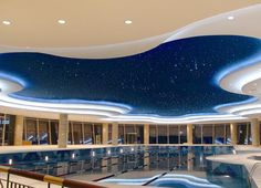 LED cove lighting- Starry night feel at an indoor pool in India