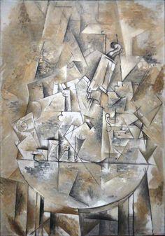 Bron : https://en.wikipedia.org/wiki/File:Georges_Braque,_1911,_Nature_Morte_(The_Pedestal_Table),_oil_on_canvas,_116.5_x_81.5_cm,_Georges_Pompidou_Center,_Paris.jpg Georges Braque, Nature Morte (The Pedestal Table) 1911, 116,5 x 81,5 cm Georges Pompidou Center, Paris (geraadpleegd op 06-05-2016)(analytisch kubisme)