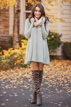Show Me Your Stripes Long Sleeve Shift Dress (Oatmeal