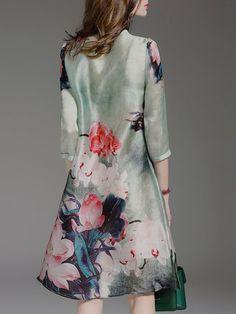 Green Floral-print Floral Casual Midi Dress
