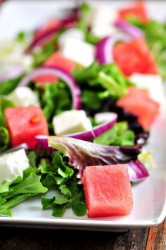 Watermelon Salad with Watermelon Vinaigrette