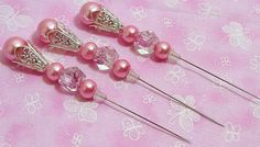 Handmade 3 inch stick/hat pins beads12 mm pearl by Grams3trinkets, $5.59
