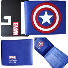 Marvel Comics (Avengers) Captain America Shield Logo Bi-Fold Men's Boys Wallet with Gift Box * Click image to review more details.