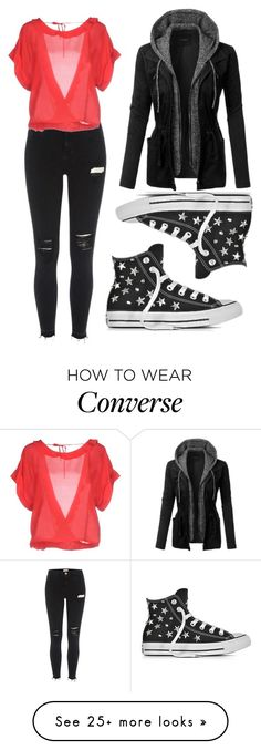 """""""Untitled #1527"""" by anjalenabvb on Polyvore featuring River Island, Pinko, LE3NO and Converse"""