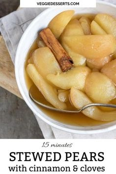Make this easy Stewed Pears recipe in just 15 minutes with 5 simple ingredients. Sliced pears are stewed in a cinnamon and clove spiced syrup until they get beautifully soft. Delicious on yogurt, ice cream, oatmeal, waffles and more. Pear Recipes, Fruit Recipes, Fruit Snacks, Veggie Recipes, Easy Cake Recipes, Real Food Recipes, Easy Desserts, Healthy Snacks, Vegetarian Recipes Dinner