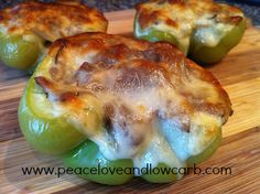 Philly cheese steak stuffed green peppers. Makes great sandwiches too. Just slice and sauté the green pepper with the other veggies. Love this recipe - YUM!!