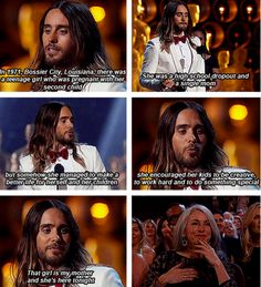 When he made this speech about your future child's grandmother. | 29 Photos Of Jared Leto That Will Make You Pregnant