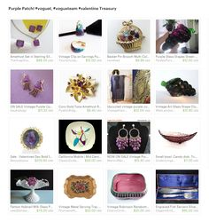 Purple Patch! #voguet, #vogueteam #valentine Treasury. May your sales enter a purple patch as spring approaches! All of these rich coloured items are available in Vogueteam shops now!  Curator: Tracey from https://www.etsy.com/shop/BelieveToBeBeautiful  #purple #vintage #etsy #homedecor #jewelry #artglass #pottery