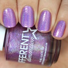"Different Dimension: Cosmologically Speaking Collection - ""Quasar"" is a radiant orchid shade linear holo with sparse purple flakes, microglitter bits and shimmer.  Beautiful.  2 coats."