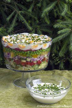Maistuis varmaan sullekin!: Kesäinen kerrossalaatti Healthy Cooking, Healthy Eating, Cooking Recipes, Healthy Recipes, Salat Al Fajr, Appetizer Recipes, Salad Recipes, Avocado Salat, Everyday Food