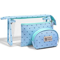 LazyBear PVC Cosmetic Bag Set Kit for Women, Mint Green Large Plastic Makeup Bag Set, Clear Transparent Portable Travel Toiletry Bag Waterproof Bathroom, Pouch Organizer Makeup Case Makeup Bag Tutorials, Cute Pencil Case, Cosmetic Bag Set, Makeup Bag Organization, Pencil Bags, Bag Patterns To Sew, Makeup Case, Toiletry Bag, Small Bags