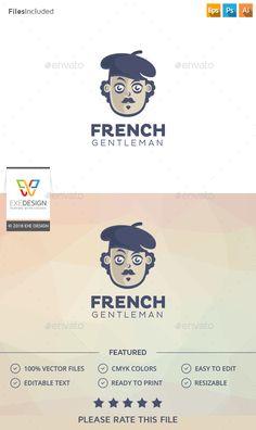 Gentleman Logo,artwork, beret, cartoon, cartoon man, character, comic, creative, cute, drawing, fashion artist, fashion man, french gentleman, french guy, french man, fun, funny, glasses, head, mascot, mister, moustache man, mr artist, Painter Logo, vintage man