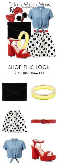 """""""Talking Minnie Mouse"""" by leslieakay ❤ liked on Polyvore featuring Rebecca Minkoff, Atos Lombardini, WithChic, Dsquared2, Miss Selfridge, Shellys, West Coast Jewelry, disney, disneybound and minniemouse"""