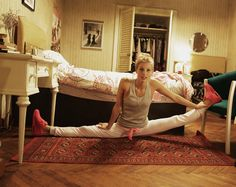 Ever wonder how Ballet Dancer can be so limber? Dancer Keenan Kampa, aka Ruby, is demonstrating how. They are constantly stretching no matter where they are.