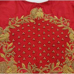 Pattu Saree Blouse Designs, Blouse Designs Silk, Bridal Blouse Designs, Langa Voni, Zardozi Embroidery, Maggam Works, Hand Work Blouse Design, Embroidery Neck Designs, Long Frock