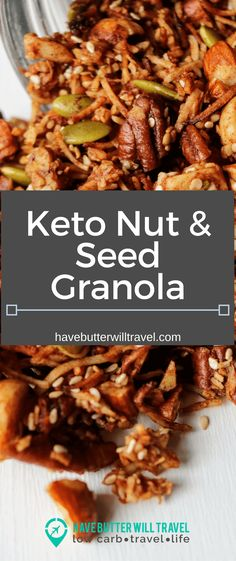 A delicious healthy keto nut and seed granola recipe. Homemade grain free granola made easy using nuts, coconut, sweetener and spices.