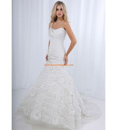 Charming One Strap Mermaid Applique Flowers Organza Unique Wedding Dress for Brides 2013