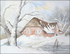Winter im Norden - Aquarell - 24 x 32 cm - Original