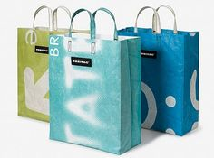 Freitag bags, made from banners from shows at 4 modern art museums.