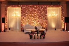 Picture from Red Velvet Events Photo Gallery on WedMeGood. Browse more such photos & get inspiration for your wedding Indian Wedding Stage, Wedding Stage Design, Wedding Hall Decorations, Wedding Reception Backdrop, Marriage Decoration, Engagement Decorations, Wedding Mandap, Backdrop Decorations, Backdrops