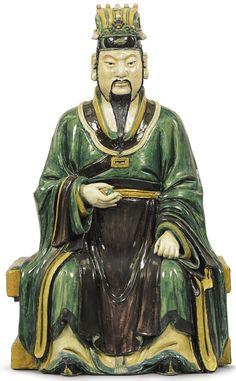 A monumental Sancai glazed ceramic figure of a Daoist Deity, China, Ming Dynasty | Sotheby's
