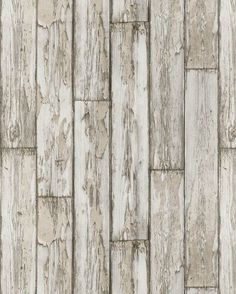An authentic design featuring a photo finish effect of wooden planks and peeling paint, shown here in Birchwood http://www.wowwallpaperhanging.com.au/wood-wallpaper-sophie-and-dales-scrapwood-wallpaper-from-the-block/