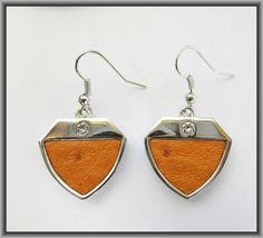 Ostrich leather crystal earrings - Tangerine OE12 Crystal Earrings, Drop Earrings, Crystals, Leather, Jewelry, Fashion, Moda, Jewlery, Jewerly
