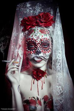Tatiana D'Andrea Photography #face #hand #holding #cigarette #smoking #smoke #dayofthedead #diadelosmuertos #sugarskull #makeup #veil #red #roses