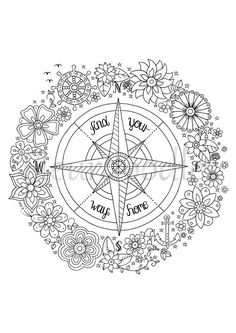 Coloring Page Compass Instant Download Printable By Fleurdoodles