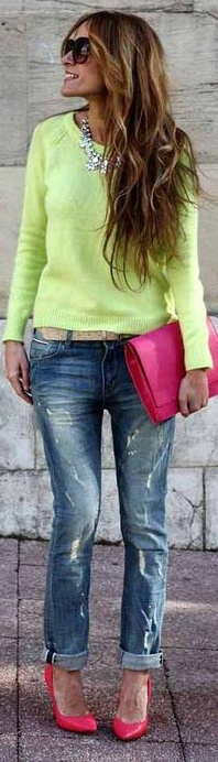 Color pop and jeans