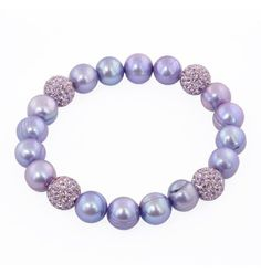 """Honora Sterling Silver 9-10mm """"Pop Star"""" Purple Round Ringed Freshwater Cultured Pearl and 10mm Pave Crystal Bead."""