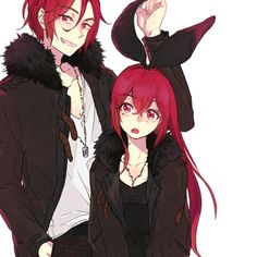 Rin and his sister Gou/Kou - Free! Iwatobi Swim Club