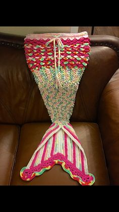 Alyssa's Pink Rainbow Mermaid Tail blanket