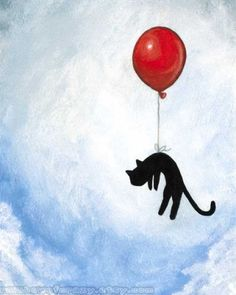 Balloon Black Cat reminds me of Luna playing with her red balloon a few weeks ago ♥