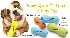 Our New Qwizl™ dog toy is an interactive treat dispensing toy that keeps dogs stimulated and happily puzzled. Made in the USA + Lifetime Guarantee http://www.chicpooch.com/west-paw-design-zogoflex-qwizl-dog-toy.html