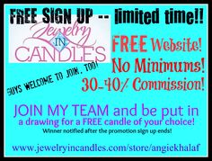 LIMITED TIME! Awesome company! :) AND join MY team and get in a drawing for a FREE JIC Candle of your choice! https://www.jewelryincandles.com/store/angiekhalaf/i/8/become-a-rep/